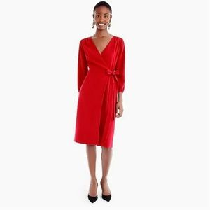 J. Crew NWT Red Crepe Wrap Dress H6292